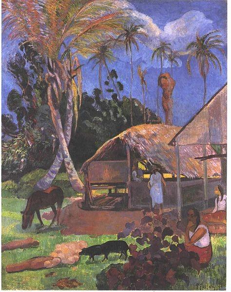 Gauguin. Cerdos negros, 1891. Óleo sobre arpillera, Budapest.Tierra deliciosa, jardín del Edén, montañas rosas y violetas..un mundo perdido donde el hombre vive en armonía con la naturaleza..