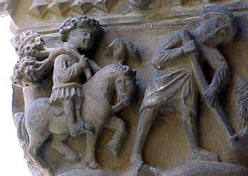 Detalle de capitel con escenas de cultivo.