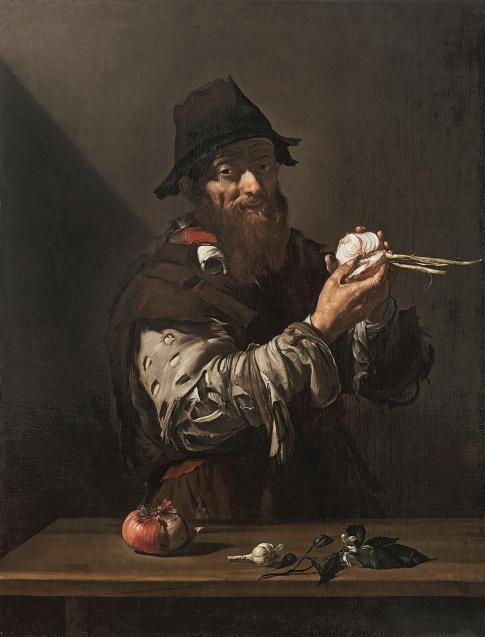 El olfato,1615.José de Ribera.Forma parte de una serie de los cinco sentidos.Un mendigo vestido con andrajos sujeta con sus manos una cebolla, abajo una cabeza de ajo y una rama de azahar.Una luz intensa recae sobre la escena.Claroscuros caravaggiescos.