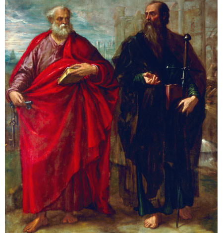 Juan Fdez de Navarrete el mudo. San Pedro y San Pablo concebidos de manera clasicista e inspirados en Platón y Aristóteles (Rafael) aparecen como piedras miliares de la basílica los dos santos fundadores de la Iglesia.