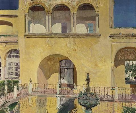 Palacio de Carlos V en el Alcázar de Sevilla, colección particular de Estados Unidos, tratan el jardín islámico como protagonismo absoluto,y el rumoros frescor del agua siempre como fondo acústico.