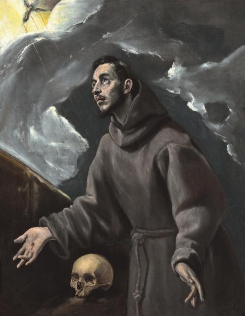 """El Greco.La estigmatización de San Francisco 1580. En la misma époce del Expolio. """"Comenzaron a aparecer en sus manos y pies las señales de los clavos, al modo que había visto al crucificado"""".Este hecho milagroso lo cuenta Tomas de Celano."""