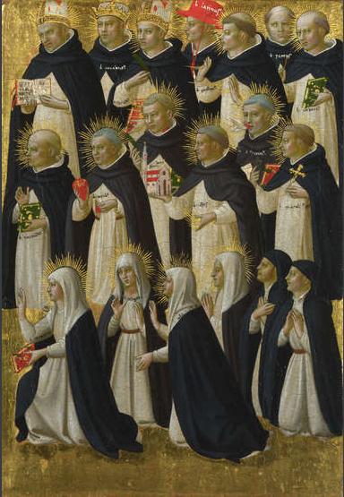La Beata Catalina de Siena es la primera por la izquierda en primera fila, posición que indica la importancia que tenía en la orden, faltaban décadas para ser canonizada.