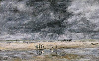 Eugène Boudin.Figuras en la playa,1893.Óleo sobre lienzo.35x59cm.Museum of Fine Arts,Boston.