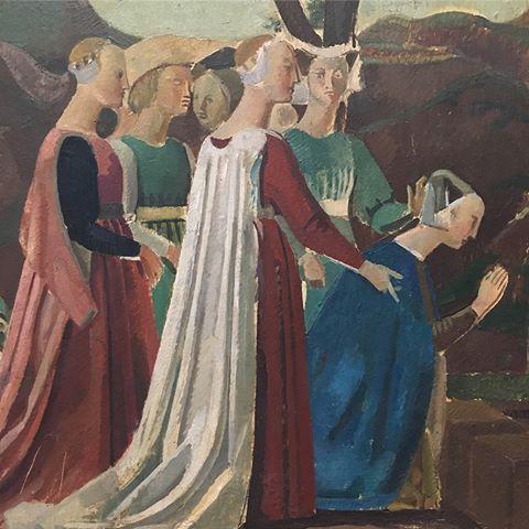 Balthus. Leyenda de la Santa Cruz. Copia de Piero della Francesca, uno de los maestros que más admiraba,la mayoría de sus escenas estan cortadas,se basa en una simplificación formal y cromática.