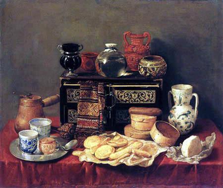 Antonio Pereda, Bodegón, 1652. Los objetos reflejan la vida cotidiana de una casa acomodada, equilibrio en la composición y una armonía cromática excepcional.