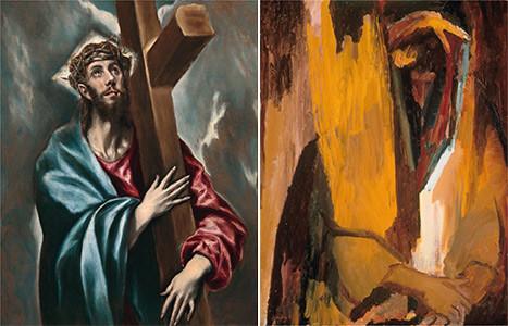 David BOMBERG,Escuchad Oh Israel de 1955, un óleo sobre tabla en el museo judio de N.York tiene cierta proximidad al Cristo abrazado a la cruz, en el carácter sufriente de la imagen, vínculo entre la corriente artística judia y la fascinación por el Greco