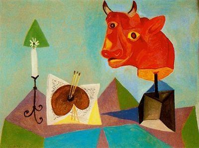 Picasso,1938.Óleo sobre lienzo.97x130cm.Naturaleza muerta:vela,paleta y cabeza de toro roja.Colección particular.Nueva York.