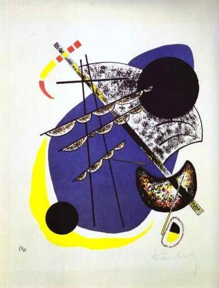 Pequeños mundos II.Litografía 1922 en color,4 piedras:amarillo,rojo,azul y negro.33x28cm. Legado de Nina Kandinsky.