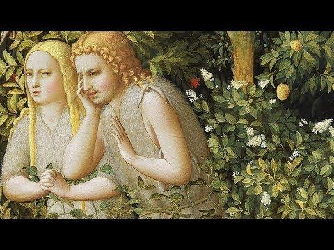 El precedente fundamental de la Encarnación del Hijo de Dios, lo prenta en la escena del Génesis: Adan y Eva han pecado y son excluidos del Paraiso. Eva mira a la izquierda, a María, su abogada, Adan no, mira al suelo avergonzado.Una las dos escenas.