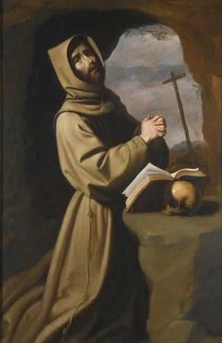 S. Francisco rezando en la gruta,1650-55.Museo de San Diego.Fue referente para los defensores de la reforma católica por ser modelo de austeridad y vida contemplativa, y la importancia de la oración.Dulcificación de rostros y fondo menos violentos.