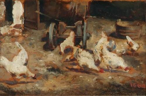 Mariano Fortuny, gallinero.1864.Óleo sobre tabla.10x16cm.Biblioteca Museo Victor Balaguer,Vilanova i la Geltrú. España