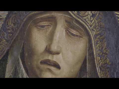 Detalle de La Piedad Desplà.1490.Óleo sobre tabla de álamo o chopo.Barcelona,Catedral.El intenso dolor de la Virgen busca conmover al espectador y despertar sentimientos de compasión y empatía emocional.