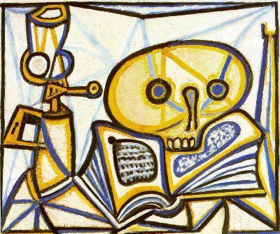 Naturaleza muerta con cráneo, libro y lámpara de queroseno,VANIDAD 1946. Museo Nacional Picasso Paris.