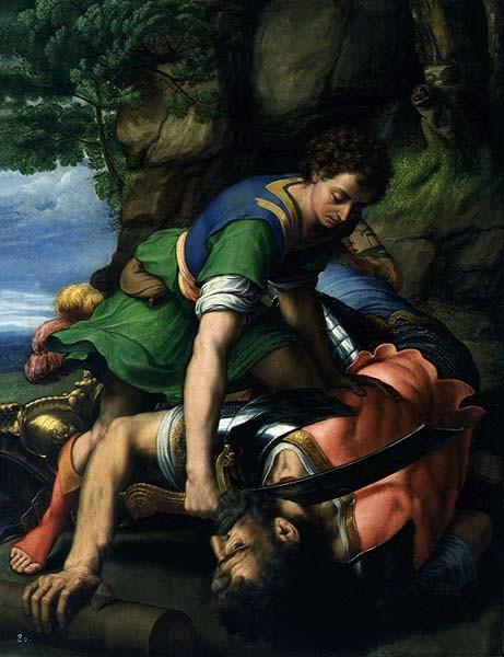 David y Goliat. Michiel Coxcie,hacia 1546.Real Monasterio de San Lorenzo del Escorial. El joven David derriba a Goliat y le corta la cabeza utilizando la espada del filisteo..Relato de la Biblia (1 sam 17,51)
