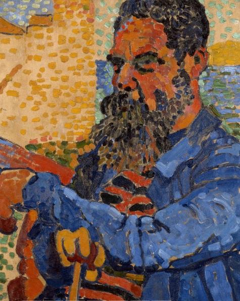 Andrée Derain.Retrato del pintor Étienne Terrus 1905.Columbus Museum of Art, Ohio. Utilizaba pequeñas pinceladas de colores puros o brochazos apresurados de colores arbitrarios...