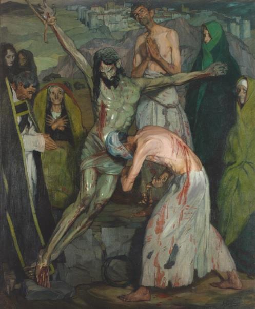 Zuloaga. Los flagelantes 1908. Obra sombría representa un momento de procesión de Semana Santa, donde los cristianos se flagelan,atmósfera irreal que potencia el efecto y dos triangulos que flanquean la figura descentrada de Cristo.