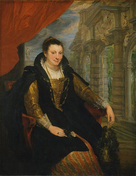 Van Dyck.Isabella Brant contrajo matrimonio con Rubens en 1609, pero enviudó pronto pues murió de peste. Composición veneciana que trasluce simpatía, mujer cultivada y amante del arte