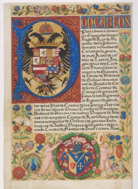 Carta ejecutoria de hidalguía. Es frecuente encontrar estos manuscritos ilustrados con retrato del monarca, su escudo de armas y una escena religiosa, flores y pájaros con cenefas...