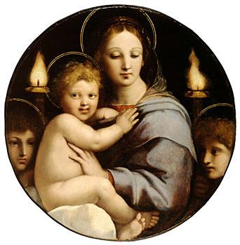 Virgen de los candelabros.Rafael y taller.1513-14.Óleo sobre tabla.64cm diámetro.Baltimore,Maryland