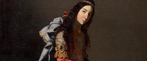 Zurbarán.Santa Casilda,1635. 107x171cm.Patrona de Briviesca,Burgos.Vivió SXI,hija del rey Toledo Abul Asan,convertida al cistianismo, muestra las flores milagrosas en su regazo.Asistía a los presos cristianos y fue descubierta por su padre.