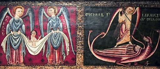 Frontal de altar de los arcángeles,SXIIITemple relieve de estuco y restos de hoja metálica corlada sobre tabla.Detalle de Miguel enfrentándose al dragón,registro superior derecho.Rafael y Gabriel en el registro superior derecho.