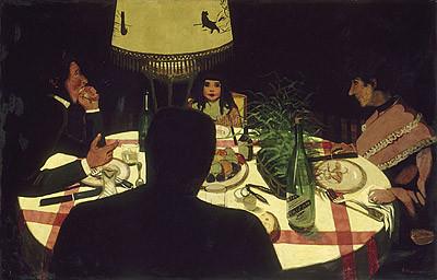 """Vallotton,Le Dinner,effet de lampe 1899.58x90cm Silenciosa quietud inmersa en una armonía cotidiana y trascendente alrededor de la mesa..""""toda el alma resumida""""..."""