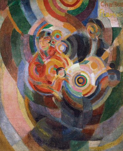 Sonia Delaunay.Cantantes de flamenco.1915-16.Cera sobre lienzo.180x205cm. Mueseo Thyssen,Madrid. Convierte las figuras en ritmos de contrastes simultaneos, le interesó la representación plástica del movimiento.