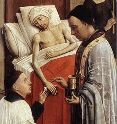 Detalle de la Unción de enfermos.Retablo de los 7 sacramentos .Roger van der Weyden