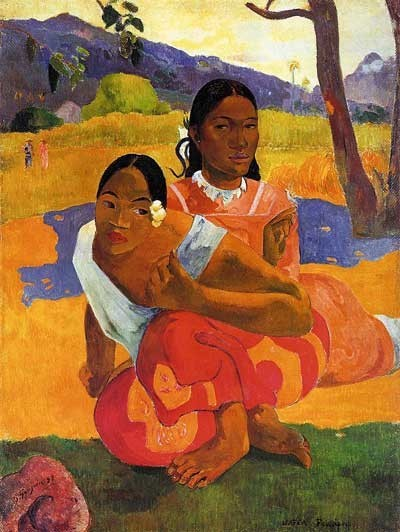 """Gauguin """"Nafea faa ipoipo""""¿Cuando te casas?El sintetismo de Gauguin es desconcertante,colores lisos,formas rodeadas de sombra,exquisita elegancia de mujeres en primer plano, absortas,ensinismadas.Hermosa armonía donde todo es íntimo y silencioso."""