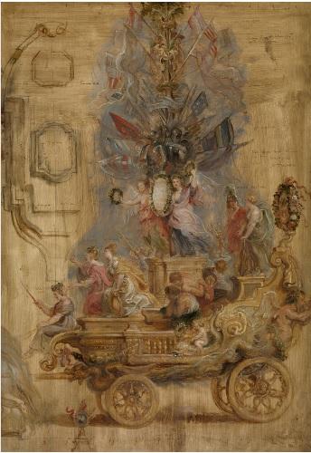 El carro triunfal de Kallo.1638.Amberes.Representa la esperanza de los ciudadanos de Amberes con la llegada del nuevo gobernador el cardenal infante Fernando en 1638 derrotó de manera aplastante al ejército holandés de Kallo,cerca de Amberes.