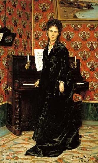 G Boldini.Retrato de Mary Donegani 1869.Óleo sobre tabla.41x25cm.Instituto Matteuci, Viareggio.La fotografia contribuyó a acentuar la naturalidad del posado.
