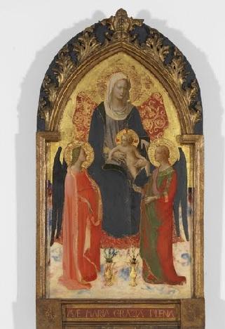Sobre la inscripcion AVE MARIA GRAZIA PLENA. Un joven Fra Angelico pinta esta Virgen entronizada, el paño carmesí roza el suelo.Es lavez que pinta el suelo de mármol multicolor. Carnaciones y luz precisa.