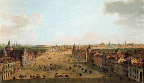 Antonio Joli, Vista de la calle de Alcalá en Madrid, 1754.Óleo sobre lienzo, 81x139cm. Son 5 las réplicas de esta panorámica, fascinante género que inaugura la magnificencia arquitectónica de la ciudad, que da idea del nuevo espectador cosmopolita.Fascina