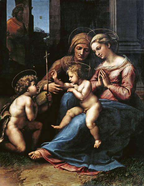 La Virgen del divino amor es un modelo maduro de Rafael y taller. Museo Capodimonte, Nápoles. Nunca antes una Sagrada Familia tuvo tanto rigor arquitectónico. Invención conmovedora de Sta Ana, guiando el brazo, como la Iglesia.