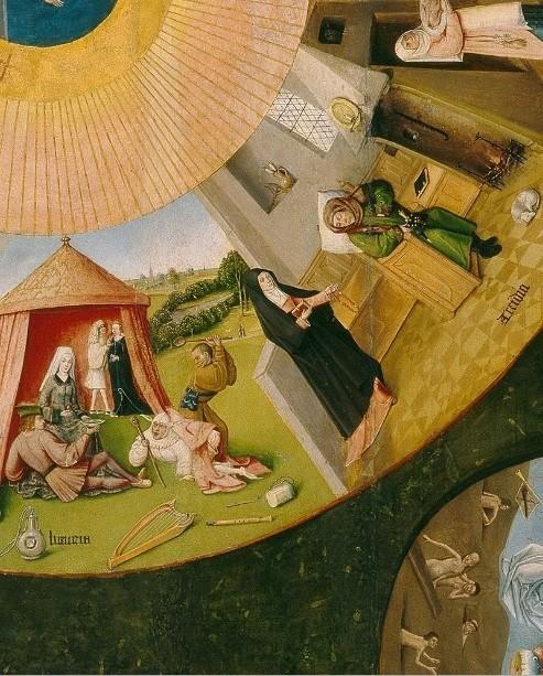 Detalle de LA LUJURIA en la que dos parejas de enamorados celebran una comida campestre entre juglares y bufones de corte que les entretienen entregándose a los placeres mundanos.Al lado la PEREZA o ACEDÍA de un eclesiástico aburguesado que duerme.