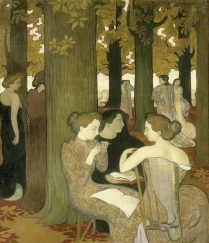 """Maurice Denis, Les Muses 1893. 171cmX137.Museo d´Orsey. Mujeres contemporáneas inspiradas en la mitologia griega. Su mujer Marthe Mounier,reproducida de perfil,de espaldas, mientras los viejos castaños ordenan verticalmente el espacio.""""Bosque sagrado""""..."""