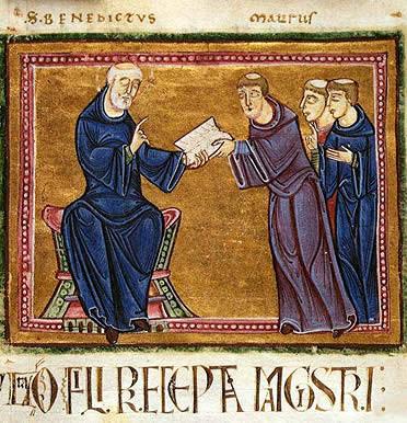 San Benito de Nursia entregando la Regla a sus discípulos.