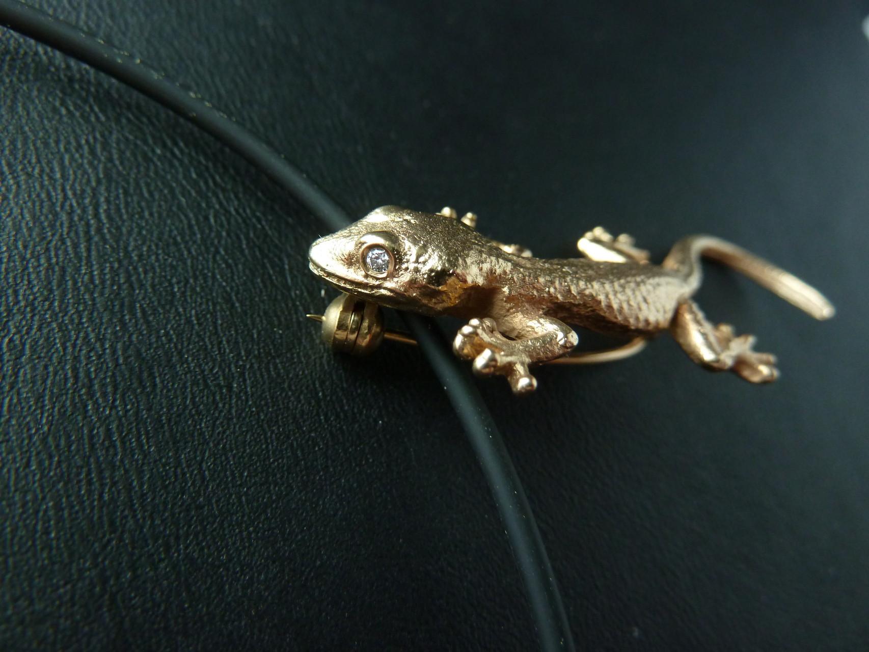 Gecko Brosche - Anhänger