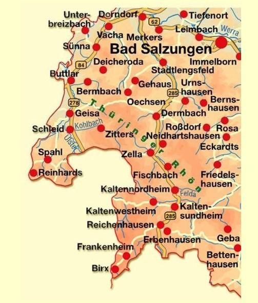 Karte der Thüringer Rhön