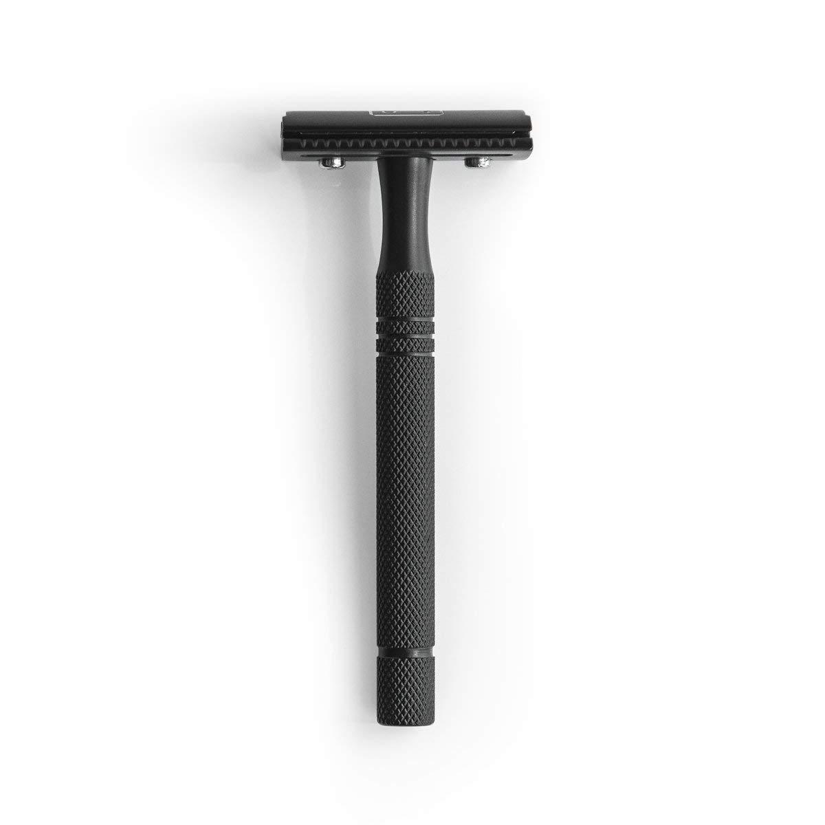 sober® | Premium Rasierhobel aus Solingen inkl. 5 Astra Rasierklingen | Nassrasierer in Schwarz matt (Edelstahl) mit langem Griff für die klassische Nassrasur im Set | Rasierer für Herren