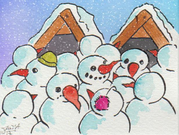 Der Weihnachtsmarkt ist voll wie immer - selbst bei Schneemännern.