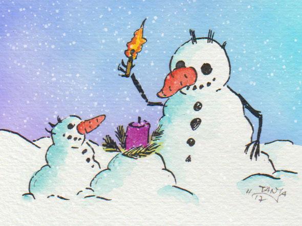 Aquarellzeichnung mit digitaler Überarbeitung: zwei Schneemänner machen es sich vorweihnachtlich gemütlich.