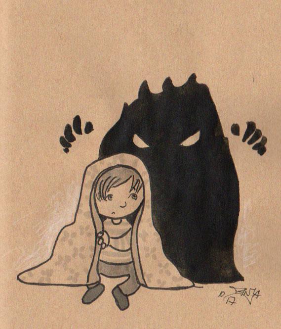 Zeichnung für die 365-Tage-Doodle-Challenge zum Thema: Kuscheldecke.