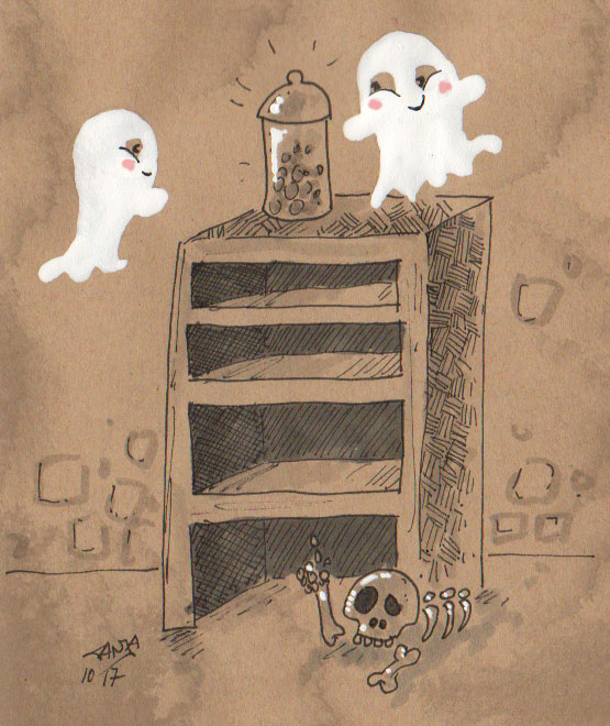 """Zeichnung für die 365-Tage-Doodle-Challenge und für den Inktober zum Stichwort """"Bonbonglas"""""""