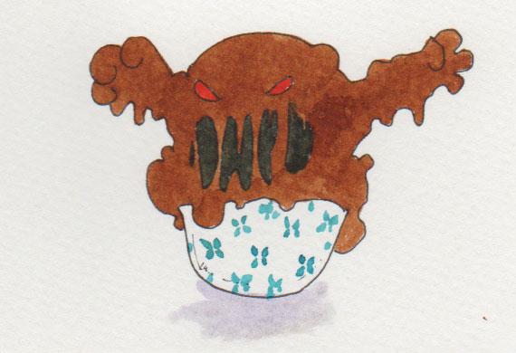 """Aquarellzeichnung für die 365-Tage-Doodle-Challenge zum Stichwort """"Dessert""""."""