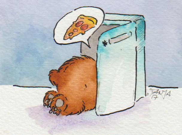 Zeichnung: Ein kleiner Bär futtert sich grad Winterspeck an.