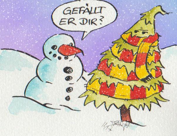 Irgendwie scheint der Weihnachtsbaum nicht so begeistert von dem Geschenk.