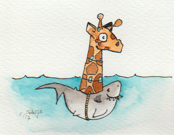 """Zeichnung zum Thema """"Giraffe"""" für die 365-Tage-Doodle-Challenge."""