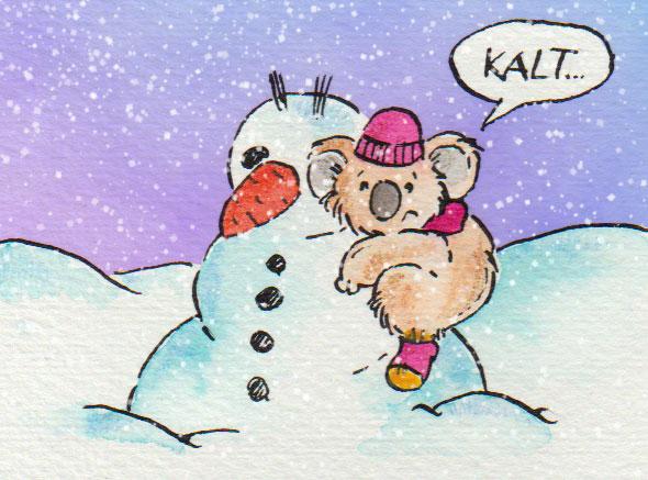 Aquarellzeichnung von einem Schneemann und einem Koala für die 365-Tage-Doodle-Challenge.
